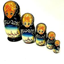Russian Nest Doll 5 Piece Set Lady Floral Black Blue Red