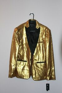 Blazers Mens Sequins holiday INC Suit Jacket Coat Shiny Stage New fun satin XL