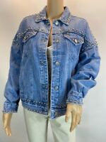 Colourful Premium Vintage Blue Studded Oversized Denim Biker Jacket Size S-M-L
