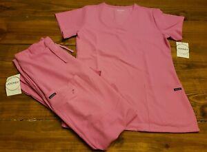 NEW w/Tags Womens Sz Small Waterlilly Jockey Scrub Set Shirt and Pants pink