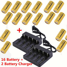16X CR123A 123A CR123 16340 2800Mah Rechargeable Battery BTY Black+ 2 UL Charger