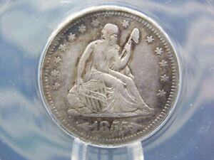 "1855 ""O"" Seated Liberty Silver Quarter 25c ANACS VF30 Details ECC&C, Inc."