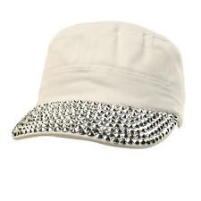 Cute Jewel Rhinestone Bling Bling Visor Cadet GI Castro Cap Hat Adjustable White