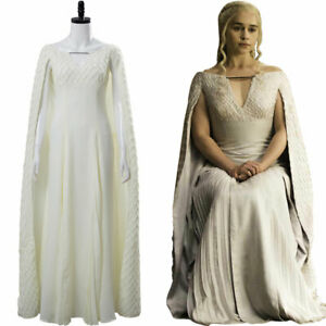 Game of Thrones 5 S5 Daenerys Targaryen Outfit Cosplay Costume White Dress Gown