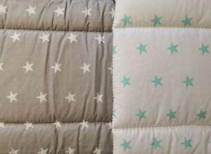 2-6 Piece Baby Bedding Set 120x90 or 135x100cm-Antiallergic- Stars White/Green