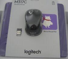 Logitech M317C Wireless Black Mouse With Purple Mouse Pad (910-004982)