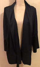 EVA TRALALA PARIS KNIT HOUSE CAPE DUSTER CARDIGAN JACKET Navy ONE SIZE W/ Satin