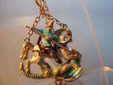 George & IL DRAGO CIONDOLO SMALTO ARGENTO sulla catena d'oro catena in oro 9ct sospeso