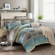 Cotton Striped Quilt Doona Duvet Cover Set Queen Size Bed Linen Pillow Cases New