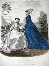 GRAVURE MODE 19e -  MODE ILLUSTREE 1866 - TOILETTES DE PRINTEMPS - GRAND FORMAT
