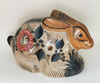 LARGE ADORABLE TALAVERA MEXICO POTTERY BUNNY RABBIT FIGURINE ~ 13""