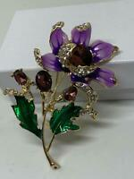 Anemone Purple Enameled Flower Green Crystal Leaf Vintage Gold Pin Brooch D-5688
