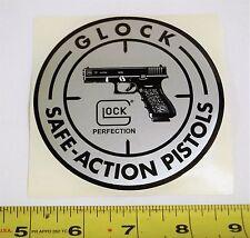 Glock Decal Sticker Safe Action Pistols Round Silver Black 3.75in Gun Shooting