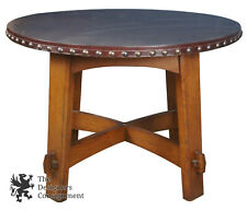 Stickley Commemorative Library Center Table with Leather Top 89-407 Oak Mission