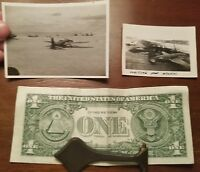 Lot of 2 Original WWII Photos USAAF Fighter Bomber Planes Aircrew Pilot Airfield