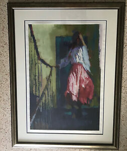 NICOLA SIMBARI: ESCALIER FEMALE ON STAIRCASE Signed & Numbered SERIGRAPH RS