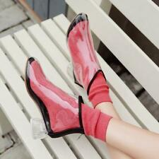 Womens PVC Transparent Ankle Boots Casual Ladies Low Block Heel Shoes Pull On