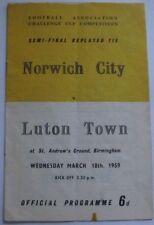1959 FA Cup Semi/Final Replay. Norwich City v Luton Town at Birmingham.