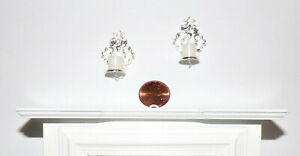 NEW! 1:12 SCALE 2 ORNATE SILVER DOLLHOUSE MINIATURE REAL CANDLE WALL SCONCES--