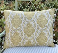 "NEW Kate Forman Margot Yellow Fabric 17""x13"" Pom Pom or Piped Cushion Cover"