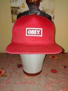 Obey Box Logo Red Snapback Hat Cap Supreme