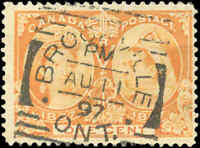 1897 Used Canada 1c F+ Scott #51 Diamond Jubilee Stamp