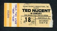 1981 Ted Nugent concert ticket stub Huntsville Alabama Scream Dream