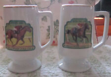 HOLLYWOOD PARK HORSE RACING GOLD CUP PAIR OF PEDESTAL COFFEE MUGS