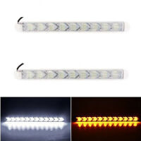 9LED White/Amber Switchback Flexible Flow Turn Signal Arrow Flasher DRL Light