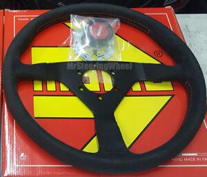 MOMO Monte Carlo Alcantara 350mm Red Stitch Steering Wheel  - MCL35AL3B