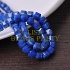 New 30pcs 8mm Cube Square Faceted Gold Foil Glass Loose Spacer Beads Deep Blue