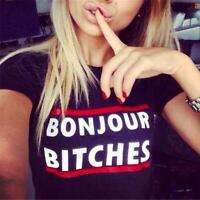 Fashion Womens Bonjour Bitches Letter Printed T-shirt Casual Crew Neck Tops Q