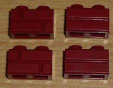 Lego 4 Steine 1 x 2 beidseitiges Muster in dunkel rot