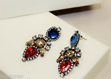 GOLD TONE DROP RED BLUE Party Earrings |Bridal Collection 2016 | Party jewellery