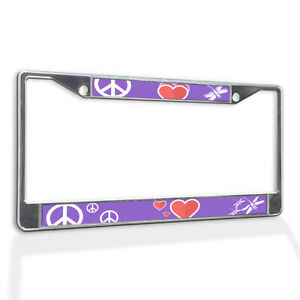 License Plate Frame Vinyl Insert Peace Symbol with Red Hearts and Dragon Fly