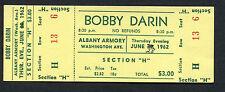 Original 1962 Bobby Darin unused full concert ticket Albany NY Mack The Knife