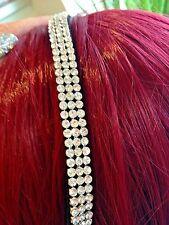 3 Row 7mm Clear Crystal  Stretch DIAMANTE Alice Headband Hair Band ~Retro/ 1920