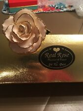 Real Rose Dipped 24 Kt Gold
