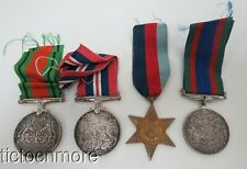 Wwii Canadian Armed Forces 4pc Medal Grouping Star 1939-1945 Defense Service