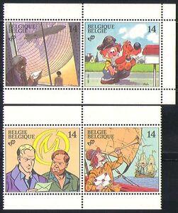 Belgium 1991 Ship/Dog/Zeppelin/Animations 4v prs n32192