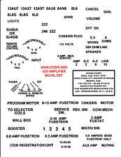 WURLITZER JUKEBOX  2000   2100  2300 or 2400/2404  AMPLIFIER  DECALS