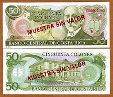SPECIMEN, Costa Rica, 50 Colones, P-257s, UNC > Rare