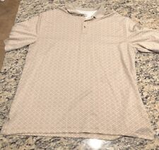 PGA Tour 3XLT Airflux Mens Beige Pattern Short Sleeve Collared Polo Golf Shirt