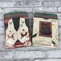 Dimensions Felt & Fabric Appliques Kit Christmas Tree Santa Star Iron On 2pc