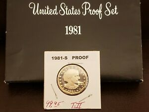 """1981~S SUSAN B.ANTHONY~SBA~PROOF DOLLAR~TYPE 2 CLEAR """"S FROM MY PROOF SET~2X2 FF"""