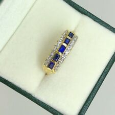 Royal Blue Sapphire & Diamond Cocktail Ring in 18K Yellow Gold