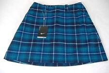 New Womens 4 Nike Golf Blue Plaid Skort Shorts Skirt $95