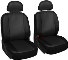 Faux Leather Car Seat Covers Solid Black 6pc Bucket Set w/Head Rests