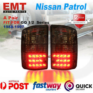 Pair of LED Tail lights Black Smoked for Nissan Patrol GQ 1988-1997 Series 1 2