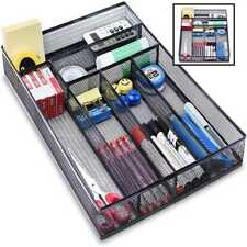 Desk Drawer Organizer W 6 Compartments Mesh Tray For Stationery Office Supplies